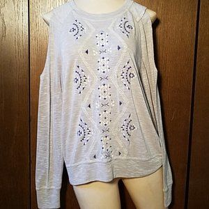 MISS ME COLD SHOULDER EMBROIDERED SWEATER SZ SMALL